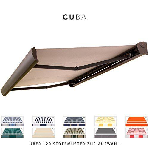 BroxSun Kassettenmarkise Cuba mit LED Beleuchtung | Breite 2,1 bis 7m | Auslage bis 3,6m! | Auswahl: 120 Stoffe, div. Antriebe uvm. | wetterfeste Markise elektrisch Sonnenschutz Terrasse beschattung, Cuba Steuerung:Somfy/Fernbedi. u. Wind+Sonnensensor LED, Cuba Abmessungen:Breite von 351 bis 410cm / Länge 260cm