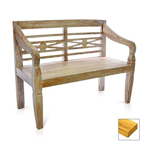 DIVERO 2-Sitzer stabile antike Gartenbank 115 cm massiv Teak-Holz Handarbeit 2 Personen Bank mit Schnitzereien weiß whitewash