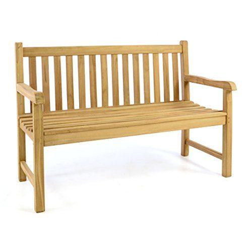 Divero 2-Sitzer Bank Holzbank Gartenbank Sitzbank 130 cm – zertifiziertes Teak-Holz Hochwertig Massiv behandelt – Reine Handarbeit – Wetterfest