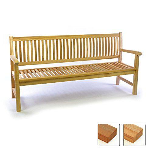 Divero 3-Sitzer Bank Holzbank Gartenbank Sitzbank 180 cm – zertifiziertes Teak-Holz Natur unbehandelt Hochwertig Massiv – Reine Handarbeit – Wetterfest (Teak Natur)