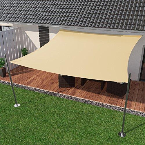 IBIZSAIL Premium Sonnensegel - Viereck (quadratisch) - 350 x 350 cm - CREME - wasserabweisend (inkl. Spannseilen)