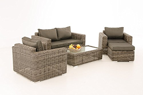 Mendler 2-1-1 Gartengarnitur CP050 Sitzgruppe Lounge-Garnitur Poly-Rattan ~ Kissen Anthrazit, Grau-Meliert