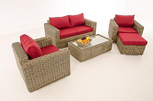 Mendler 2-1-1 Gartengarnitur CP050 Sitzgruppe Lounge-Garnitur Poly-Rattan ~ Kissen Rubinrot, Natur