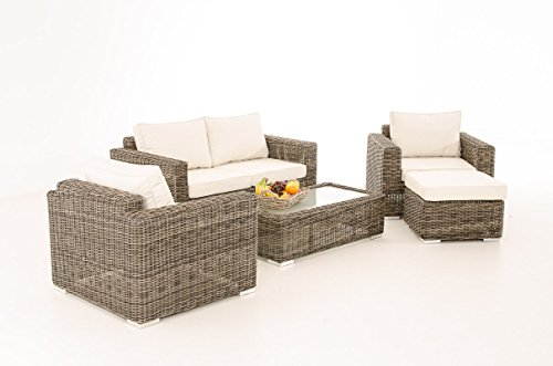 Mendler 2-1-1 Gartengarnitur CP050 Sitzgruppe Lounge-Garnitur Poly-Rattan ~ Kissen cremeweiß, Grau-Meliert