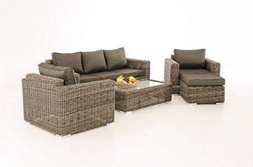 Mendler 3-1-1 Gartengarnitur CP053 Sitzgruppe Lounge-Garnitur Poly-Rattan ~ Kissen Anthrazit, Grau-Meliert