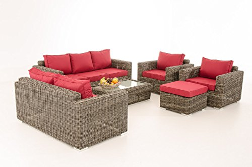 Mendler 3-2-1-1 Sofa-Garnitur CP050 Lounge-Set Gartengarnitur Poly-Rattan ~ Kissen Rubinrot, Grau-Meliert