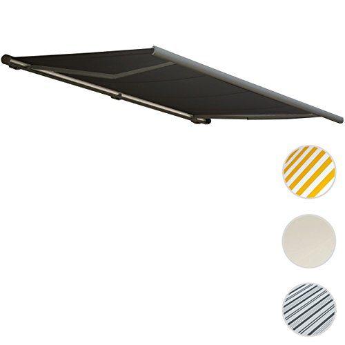 Mendler Elektrische Kassettenmarkise T122, Markise Vollkassette 4x3m ~ Polyester Anthrazit, Rahmen Grau