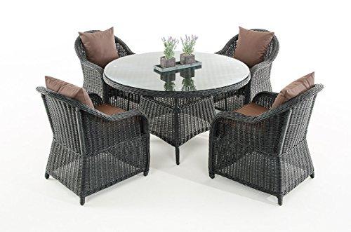 Mendler Garten-Garnitur CP070, Sitzgruppe Lounge-Garnitur Poly-Rattan ~ Kissen terrabraun, Schwarz