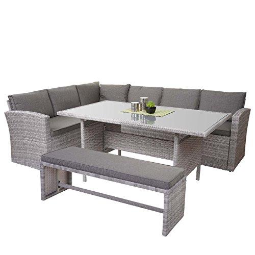 Mendler Poly-Rattan-Garnitur HWC-A29, Gartengarnitur Sitzgruppe Lounge-Esstisch-Set, Hellgrau ~ mit Bank