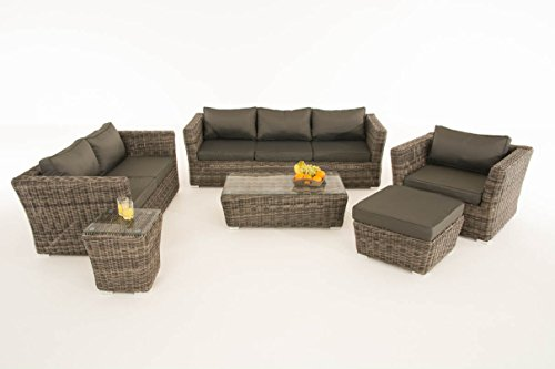 Mendler Poly-Rattan Gartengarnitur Sousse, Sofa-Garnitur Lounge-Set ~ Grau-Meliert, Polsterung Anthrazit