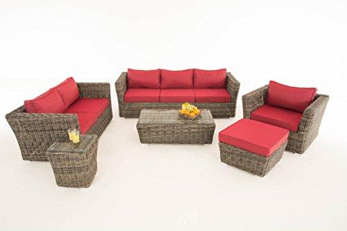 Mendler Poly-Rattan Gartengarnitur Sousse, Sofa-Garnitur Lounge-Set ~ Grau-Meliert, Polsterung Rubinrot