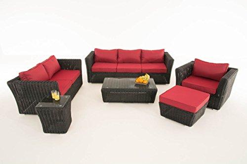 Mendler Poly-Rattan Gartengarnitur Sousse, Sofa-Garnitur Lounge-Set ~ Schwarz, Polsterung Rubinrot