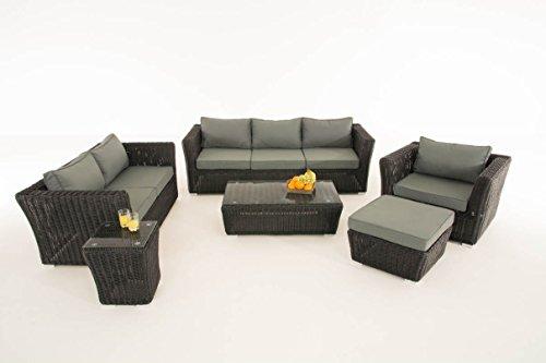 Mendler Poly-Rattan Gartengarnitur Sousse, Sofa-Garnitur Lounge-Set ~ Schwarz, Polsterung eisengrau