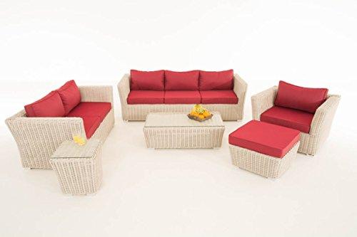 Mendler Poly-Rattan Gartengarnitur Sousse, Sofa-Garnitur Lounge-Set ~ perlweiß, Polsterung Rubinrot