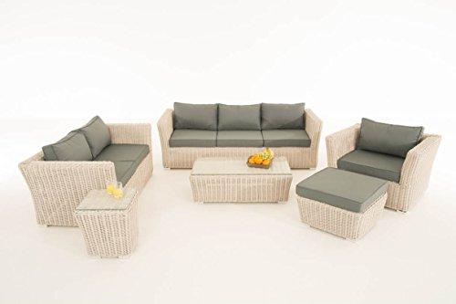 Mendler Poly-Rattan Gartengarnitur Sousse, Sofa-Garnitur Lounge-Set ~ perlweiß, Polsterung eisengrau