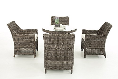 Mendler Poly-Rattan Sitzgruppe CP402, Gartengarnitur Lounge-Set ~ Grau-Meliert, Kissen Creme