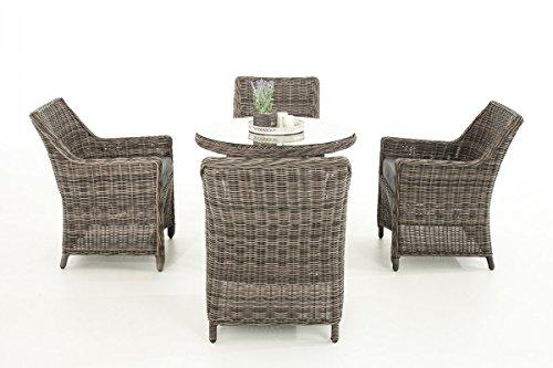 Mendler Poly-Rattan Sitzgruppe CP402, Gartengarnitur Lounge-Set ~ Grau-Meliert, Kissen eisengrau