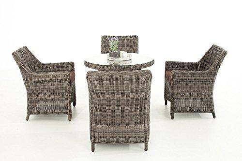 Mendler Poly-Rattan Sitzgruppe CP402, Gartengarnitur Lounge-Set ~ Grau-Meliert, Kissen terrabraun