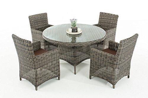 Mendler Poly-Rattan Sitzgruppe CP413, Gartengarnitur Lounge-Set ~ Grau-Meliert, Kissen terrabraun