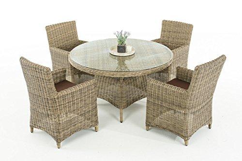 Mendler Poly-Rattan Sitzgruppe CP413, Gartengarnitur Lounge-Set ~ Natur, Kissen terrabraun