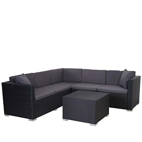 Mendler Poly-Rattan Sofa-Garnitur ROM Basic, Sitzgruppe Lounge-Set, Alu ~ Anthrazit, Kissen Anthrazit