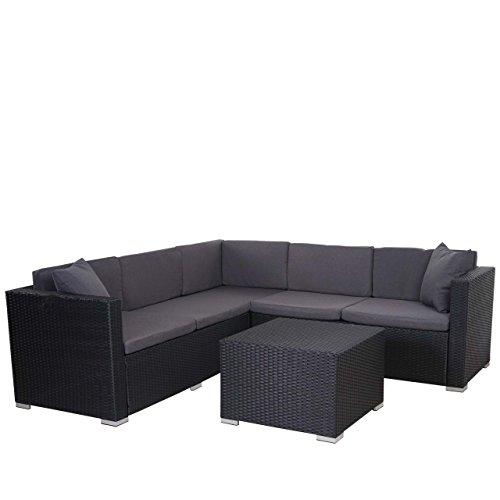Mendler Poly-Rattan Sofa-Garnitur ROM Basic, Sitzgruppe Lounge-Set, Alu ~ Anthrazit, Kissen Anthrazit