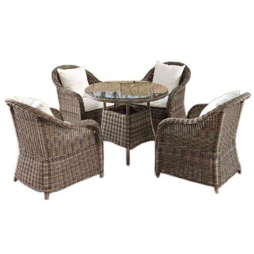 Mendler Sitzgruppe, Sitzgarnitur, Gartengarnitur Farsund, Poly-Rattan, grau-meliert