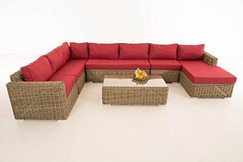 Mendler Sofa-Garnitur CP054, Lounge-Set Gartengarnitur, Poly-Rattan ~ Kissen Rubinrot, Natur