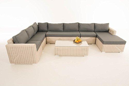 Mendler Sofa-Garnitur CP054, Lounge-Set Gartengarnitur, Poly-Rattan ~ Kissen eisengrau, perlweiß