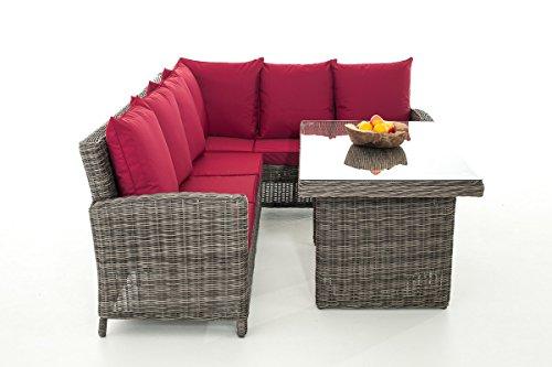 Mendler Sofa-Garnitur CP056, Lounge-Set Gartengarnitur, Poly-Rattan ~ Kissen Rubinrot, Grau-Meliert