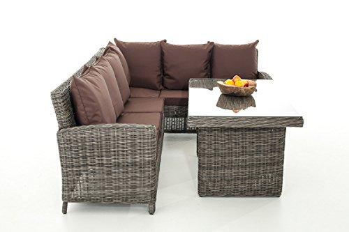 Mendler Sofa-Garnitur CP056, Lounge-Set Gartengarnitur, Poly-Rattan ~ Kissen terrabraun, Grau-Meliert