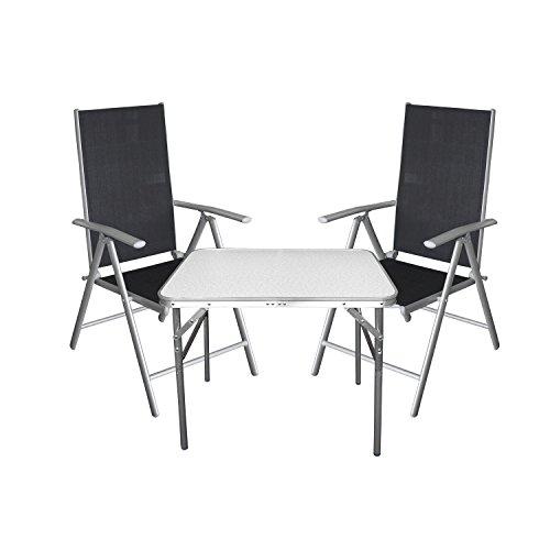 Multistore 2002 3tlg. Campingmöbel Balkonmöbel Set Aluminium Tisch Klapptisch + Hochlehner mit 7-fach verstellbarer Rückenlehne Silber
