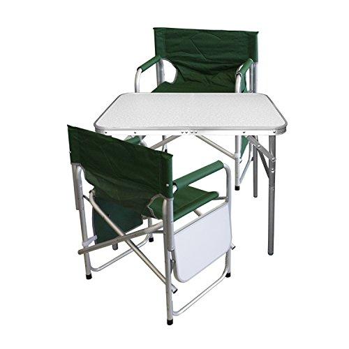 Multistore 2002 3tlg. Campingmöbel Set Gartengarnitur Campingtisch Alu Klapptisch 75x55x60cm + 2X Alu Campingstühle Klappstuhl Anglerstuhl mit Ablage und Organizer Grün