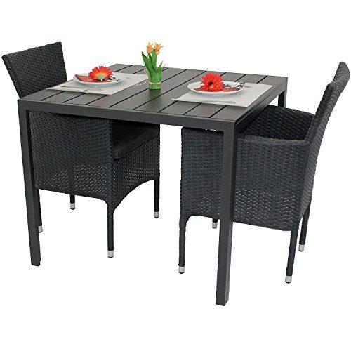 Multistore 2002 3tlg. Gartenmöbel-Set Aluminium Polywood Tisch 90x90cm + 2X Poly-Rattan Sessel stapelbar Balkonmöbel