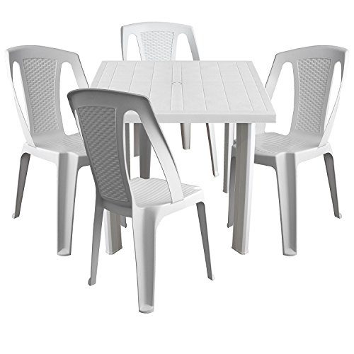 Multistore 2002 5tlg. Balkonmöbel Kunststoff Gartentisch 80x75cm + 4X stapelbare Gartenstühle in Rattan-Optik Sitzgruppe Sitzgarnitur - Weiß