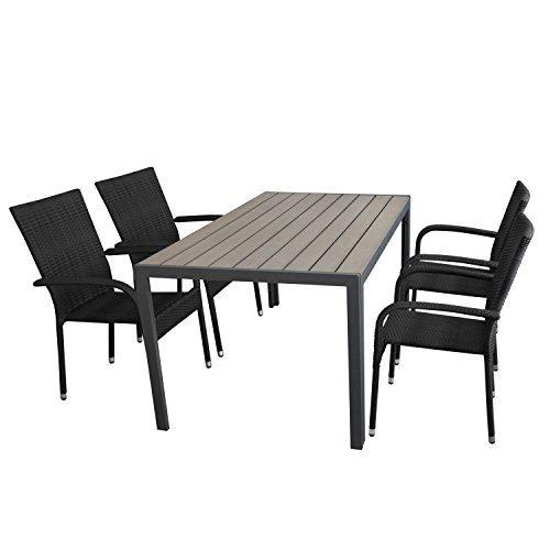 Multistore 2002 5tlg. Gartengarnitur, Gartentisch, Alurahmen, Tischplatte Polywood Grau, 150x90cm + 4X Stapelstuhl, Polyrattanbespannung Schwarz