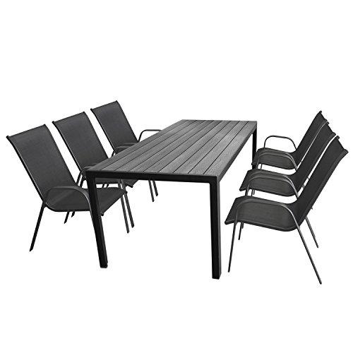 Multistore 2002 7tlg. Gartengarnitur Gartentisch, 205x90cm, Polywood Tischplatte Grau, Aluminiumrahmen Schwarz + 6X Stapelstuhl, Textilenbespannung Anthrazit