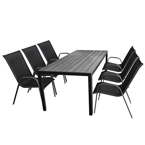 Multistore 2002 7tlg. Gartengarnitur Gartentisch, 205x90cm, Polywood Tischplatte Grau, Aluminiumrahmen Schwarz + 6X Stapelstuhl, Textilenbespannung Schwarz