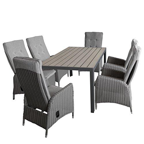 Multistore 2002 7tlg Gartengarnitur Gartentisch, Aluminiumrahmen, Tischplatte Polywood, Grau, 150x90cm + 6X Rattansessel, inkl. Polster, Rückenteil stufenlos Verstellbar, Grau-Meliert