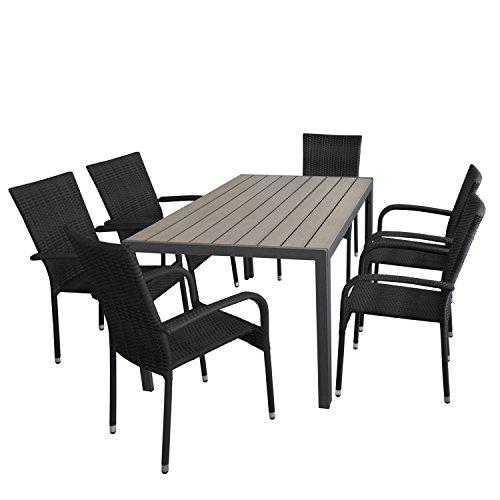 Multistore 2002 7tlg. Gartengarnitur, Gartentisch, Alurahmen, Tischplatte Polywood Grau, 150x90cm + 6X Stapelstuhl, Polyrattanbespannung Schwarz