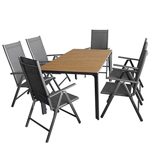 Multistore 2002 7tlg. Gartengarnitur, Gartentisch, Alurahmen, Tischplatte Polywood Teakfarben, 160x90cm + 6X Alu Hochlehner, Textilenbespannung, 7-Fach Verstellbar