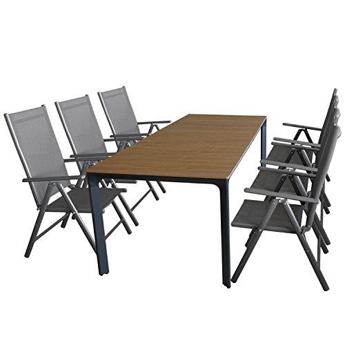 Multistore 2002 7tlg. Gartengarnitur, Gartentisch, Alurahmen, Tischplatte Polywood Teakfarben, 200x90cm + 6X Alu Hochlehner, Textilenbespannung, 7-Fach Verstellbar