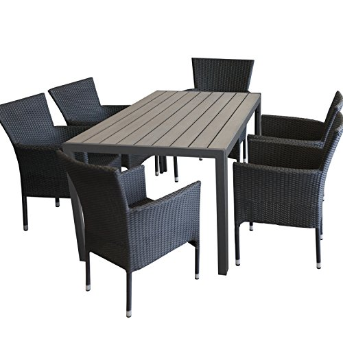 Multistore 2002 7tlg. Gartengarnitur Gartentisch Polywood 150x90cm Grau + 6X stapelbare Polyrattan Sessel Schwarz Sitzgruppe Sitzgarnitur Gartenmöbel Balkonmöbel Set
