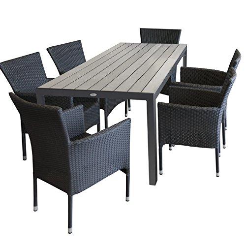Multistore 2002 7tlg. Gartengarnitur Gartentisch Polywood 205x90cm + 6X stapelbare Polyrattan Sessel Schwarz Sitzgruppe Sitzgarnitur Gartenmöbel Balkonmöbel Set