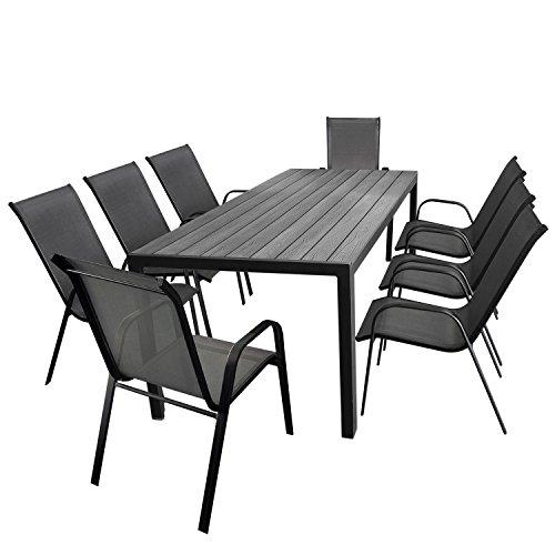 Multistore 2002 9tlg. Gartengarnitur Aluminium Gartentisch, Tischplatte Polywood, 205x90cm + 8X Stapelstuhl, Textilenbespannung in Grau - Gartenmöbel Set Sitzgarnitur Sitzgruppe