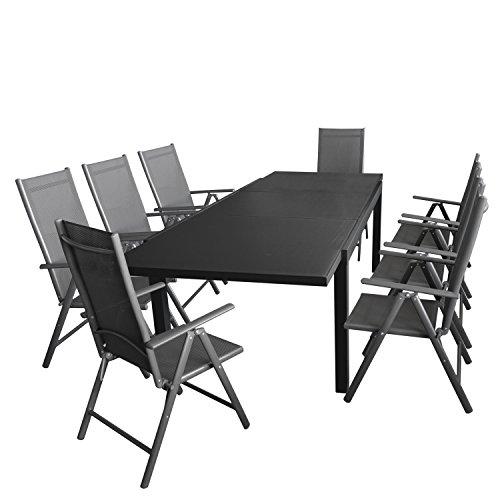 Multistore 2002 9tlg. Gartengarnitur, Ausziehtisch, 180/250x100cm, Aluminiumrahmen Anthrazit, Tischglasplatte + 8X Alu Hochlehner, Textilenbespannung, 7-Fach Verstellbar