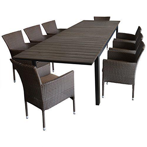 Multistore 2002 9tlg. Gartengarnitur Ausziehtisch Polywood-Tischplatte Brown-Grey 280/220x95cm + 8X Gartensessel Polyrattan Braun-Meliert, stapelbar, inkl. Kissen