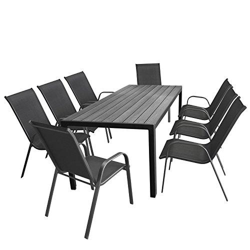 Multistore 2002 9tlg. Gartengarnitur Gartentisch, 205x90cm, Polywood Tischplatte Grau, Aluminiumrahmen Schwarz + 8X Stapelstuhl, Textilenbespannung Anthrazit