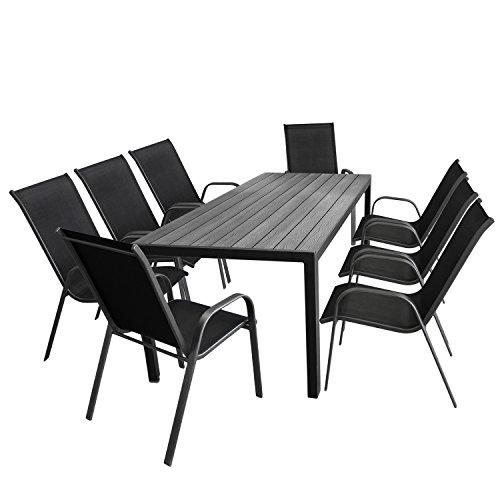 Multistore 2002 9tlg. Gartengarnitur Gartentisch, 205x90cm, Polywood Tischplatte Grau, Aluminiumrahmen Schwarz + 8X Stapelstuhl, Textilenbespannung Schwarz