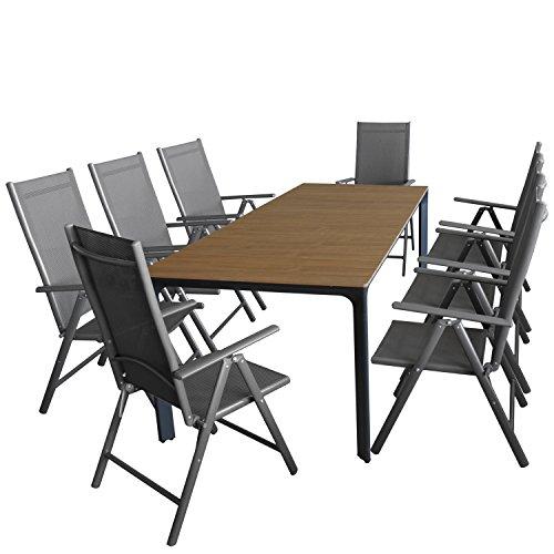 Multistore 2002 9tlg. Gartengarnitur, Gartentisch, Alurahmen, Tischplatte Polywood Teakfarben, 200x90cm + 8X Alu Hochlehner, Textilenbespannung, 7-Fach Verstellbar